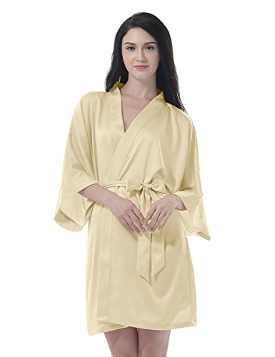 Remedios Damen Morgenmantel Bademantel Kurz Kimono Robe Dessous Babydoll Nachtwäsche, Light Gold, M