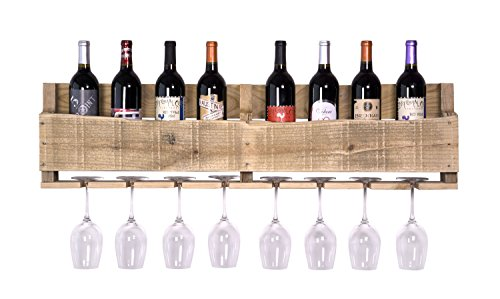 DAKODA LOVE - The Olivia Wine Rack, USA Handmade Reclaimed Wood, Wall Mounted, 8 Bottle 8 Long Stem Glass Holder (Natural) (Wall Cabinet Bar compare prices)