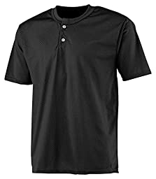 A4 2-Button Mesh Henley (Black) (3X)