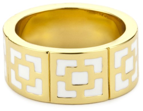 Trina Turk Enamel Brick Gold And White Ring, Size 7