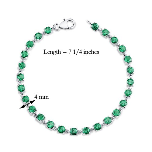 7.00 carats Round Shape Simulated Emerald Bracelet in Sterling Silver Rhodium Nickel Finish