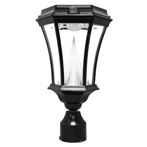 Gama Sonic Victorian Solar Outdoor Led Light Fixture, 3-Inch Fitter For Post Mount, Black Finish #Gs-94F-B