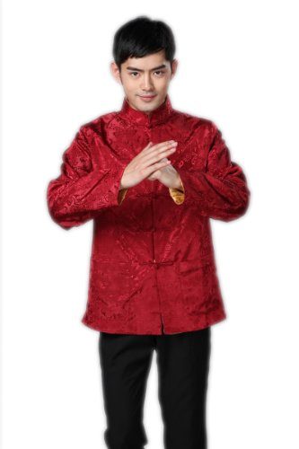 JTC Men's Tang Suit Chinese Kong Fu Top Tai Chi Costume Two Side Can Be Worn