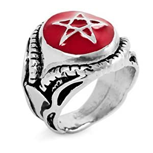 JUSTEEL Hyde L'Arc Red Pentacle Gothic Alloy Ring VE391-9 Size 9 for Men - Size R 1/2