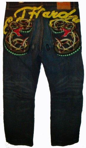 Men's Ed Hardy Jeans Blue denim Karloff Rattle Snake Sig Pkt (38x32)