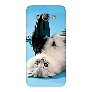 Cute Fit Cat Multicolor Back Case Cover for Galaxy A8