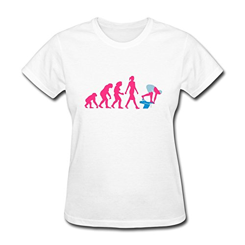 PCY Women's Personalised Custom Freestyle Swimming Evolution Unique T Shirts XS White