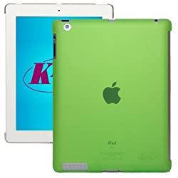 KaysCase Smart Solution Hard Shell Smart Cover Compatible Back Cover Case for Apple new iPad 3 / 4 / 3rd 4th Generation Retina Display (Transparent Green)