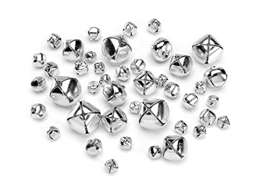 Darice 1090-62 43-Piece Big Value Assorted Size Jingle Bells, Silver