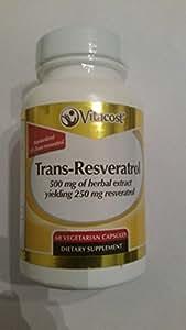 Vitacost Trans-Resveratrol 500 mg of herbal extract yielding 250 mg Trans-resveratrol -- 60