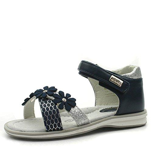 MS943 Miss Sixty Sandalo Tallone Chiuso da Bambina in Blu Marino Rip. Argento Taglia 22