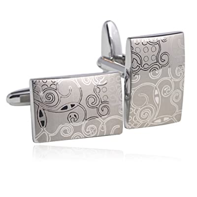 Laser Engraving Cufflinks 18K Platinum Plated Gift Boxed By Digabi