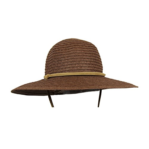 Brown Straw Summer Sun Hat w/ Wide Floppy Brim, Adjustable Strap, Round Crown