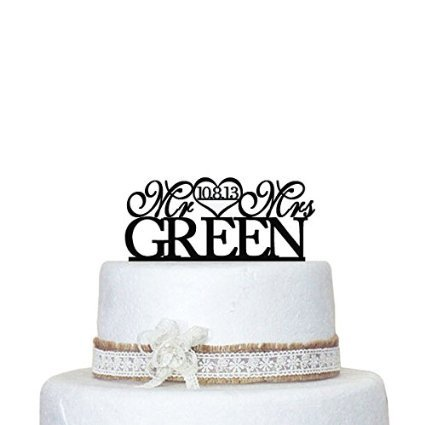 Wedding Cake Topper Personalized with Monogram Initials for Mr and MRS