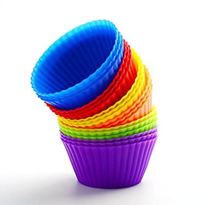 Icicle High Quality Silicone Baking Cups, Set of 24 Reusable Cupcake Liners in 6 Colors - USE for Muffin, Gelatin, Snacks, Frozen Treats or Ice Cream Dessert Molds