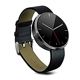 PowerLead PLSW-DM360 Waterproof Bluetooth Smart Watch Heart Rate Monitor Mini Dialer Finger Gestures Voice Control Wrist Watch for IOS Apple iPhone and Android Smartphone(Black)