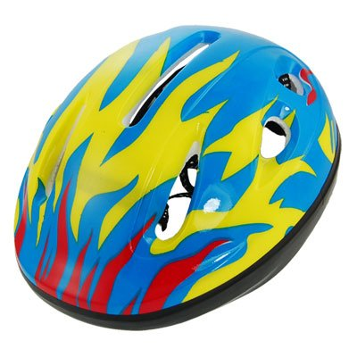Como Children Kids Fire Flame Bike Cycling Skateboard Helmet Yellow Blue