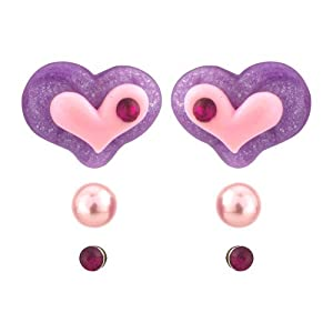 Heart 3 piece earring set - Heart and pearl and diamante stone fashion earrings - includes gift bag - matching necklace available