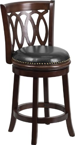 Flash Furniture TA-67024-CA-CTR-GG Cappuccino Wood Counter Height Stool with Black Leather Swivel Seat, 24-Inch