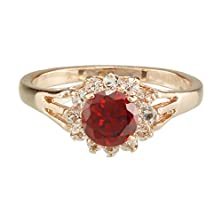 buy Fm42 Sparkling Round Cut Red Crystal Cluster Ring R206 Size 5