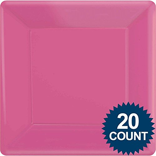 Bright Pink Party Supplies Square Dinner Paper Plates 20ct [Toy] [Toy]