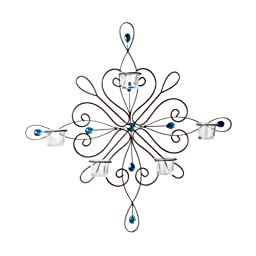 Elements Metal and Gem 5-Tealight Wall Mounted Sconce, 23-Inches