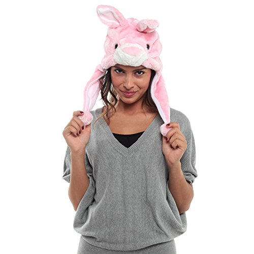 Adorox Women's Bunny Rabbit Short Plush Hat One Size Multi Color - 1