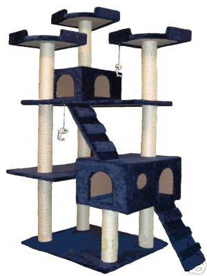 GoPetClub Cat Tree Condo Scratcher Post Pet Bed Furniture F2040-Blue
