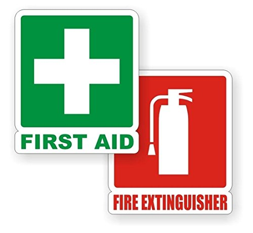PCs Authentic Modern First Aid Fire Extinguisher Car Stickers Sign Truck Decor Emergency Safety Size 4-3/4