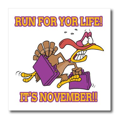 Ht_104302_3 Dooni Designs Random Toons - Run For Life Thanksgiving Turkey Humor - Iron On Heat Transfers - 10X10 Iron On Heat Transfer For White Material front-382317