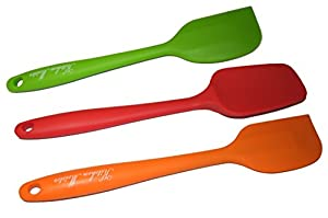 Silicone Spatula 3 Piece Set, 1 Spoon Spatula , 2 Regular Spatulas, Made of 1 Piece Silicone