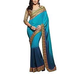 Sareeshoppers Satin Saree With Blouse Piece(Bhar-004_Blue Golden)