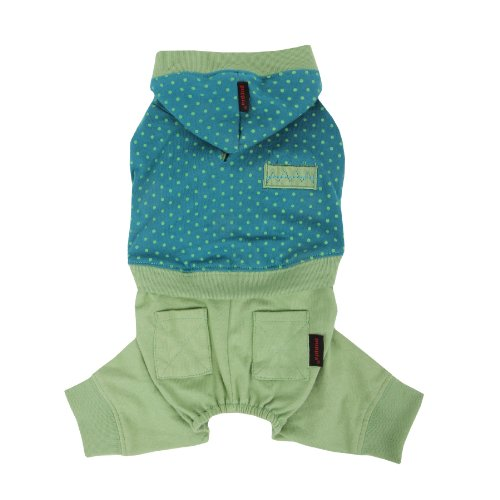 Puppia Authentic Crayon 1-Piece Pet Jumpsuit, Small, Green front-633714