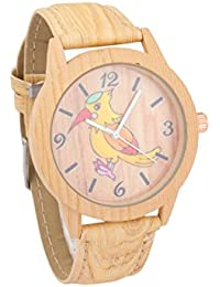 COSMIC WOODEN LOOK UNISEX KIDS WATCH WITH YELLOW KINGFISHER BIRD DESIGN ON DIAL