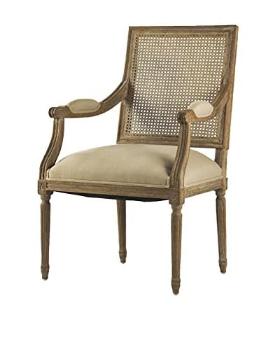 Zentique Louis Armchair with Cane Back, Natural/Limed Grey