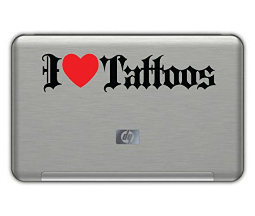 "I Love Tattoos Sticker 9""X2"" Black And Red Free Shipping"