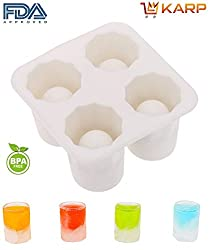 "KARPâ""¢ Silicone Ice Shot Glass Mold, 4 cups Square Ice Cube Tray,Jelly Tray ,Chocolate Mold ,Food Grade Silicone Ice Shot,BPA free, FDA approved, 100% food grade silicone- White Color"