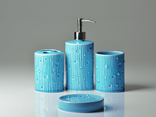 Comfify 4 piece ceramic bath accessory set bundle with for Aqua blue bathroom accessories