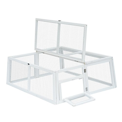 Pawhut-47-Wooden-Outdoor-Rabbit-Hutch-Run-White