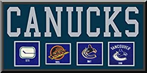 Vancouver Canucks TideTeam Wool Blend Fabric Logos Throughout The Years With Team Name & Team Color Double Matting-Awesome & Beautiful Large Picture-Most NHL Team Banners Available-Plz Go Through Description & Mention In Gift Message If Need A different Team