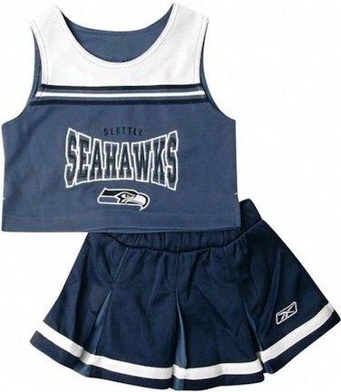 Reebok Two Piece Seattle Seahawks Nfl Cheerleader Uniform Set (Size 2T To 4T) front-914475