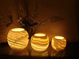 Alabaster Natural Crystal rock tea light candle holder for spa and aroma therapy
