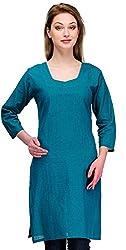 Gazi Women's Khadi Cotton Regular Fit Kurti (GF201501_38, Blue, 38)