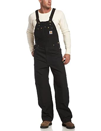 Carhartt Men's Unlined Duck Bib Overall R01,  Black,  28x32