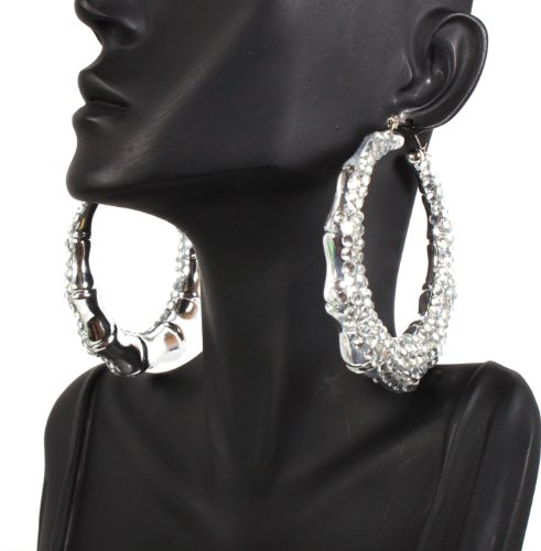 Silver Shamballah 2.5 Inch Bamboo Hoop Earrings Iced Out Basketball Mob Wives Lady Gaga Poparazzi