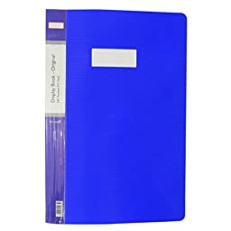 Blue 40 Pockets Display Book File Folder Foolscap Size Sheet Office Supplies Pack of 5 Pcs