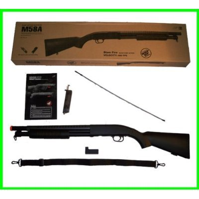 Airsoft M58a Pump Action Style Shotgun Long Stock