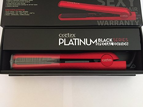 Cortex International Platinum Black Series Special Edition Flat Iron 1 1/4 inch Metallic Red Rubber Finish (Platinum Iron compare prices)