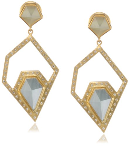 Lauren Harper Collection Archipeligo Blue 18k Gold, Milky Aquamarine and Diamond Pyramid Post Earrings