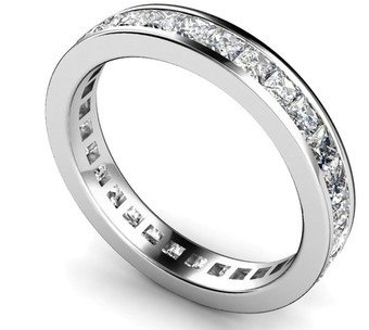 H - I/I2 - I3 Full Eternity Princess Diamond Ring,9k White Gold